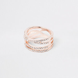 Rose gold tone rhinestone double kiss ring