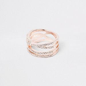Bague façon or rose motif «kiss» ornée de strass