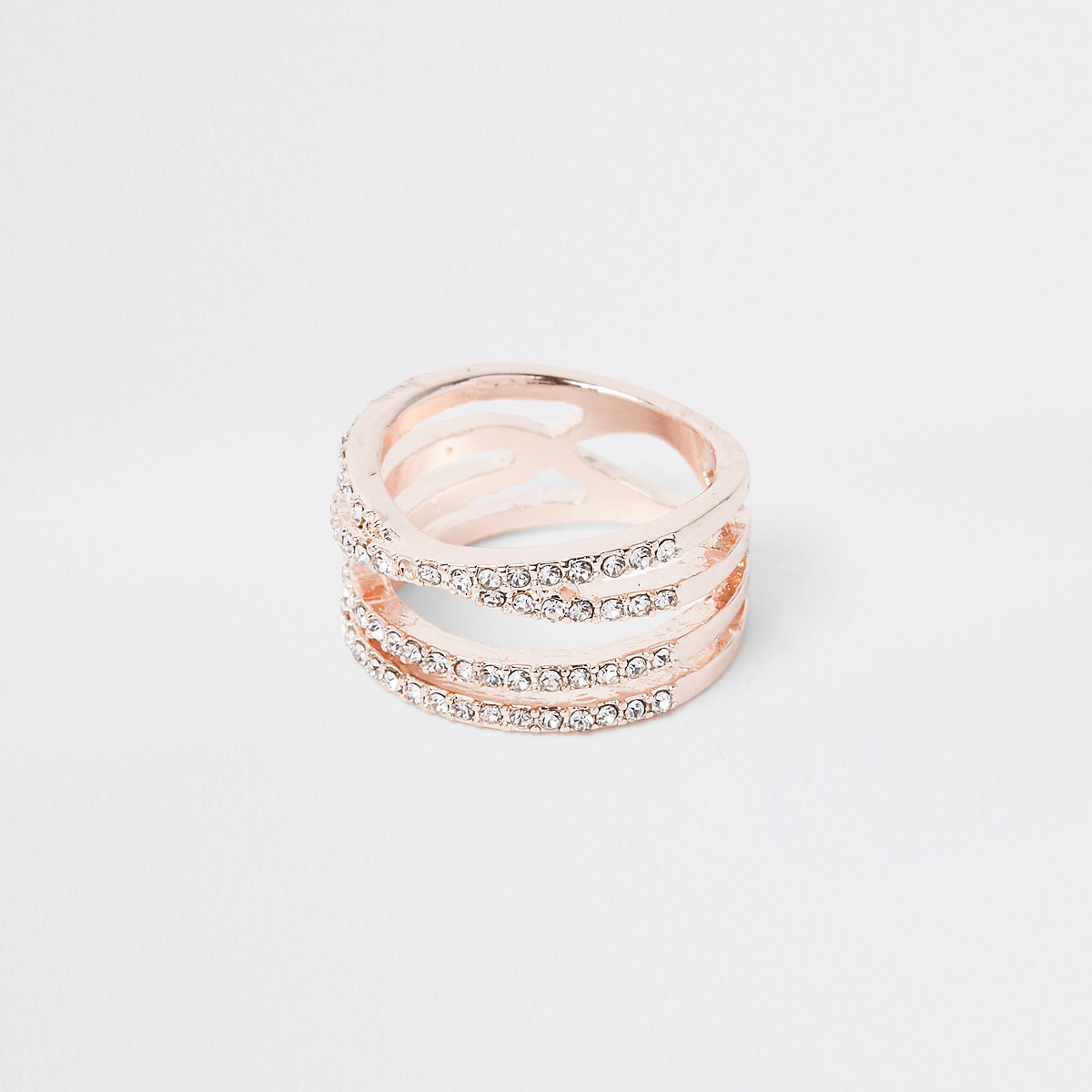 Rose gold color rhinestone double kiss ring