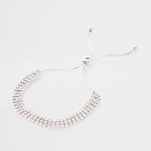 Silver diamante encrusted lariat bracelet