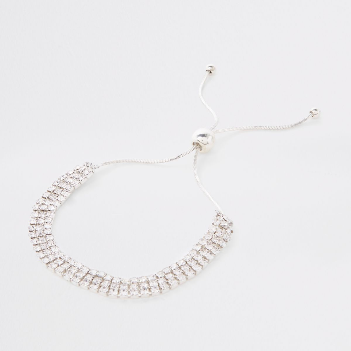 Silver rhinestone encrusted lariat bracelet