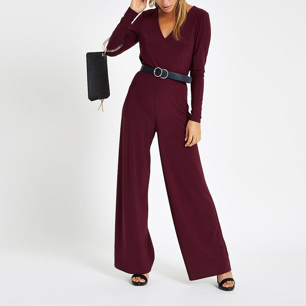 Burgundy cowl back wide leg jumpsuit
