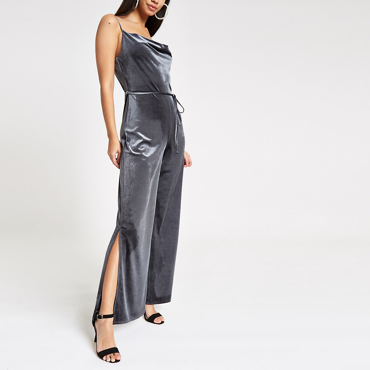 e719d847db0 Grey velvet cowl neck wide leg jumpsuit - Jumpsuits - Playsuits   Jumpsuits  - women