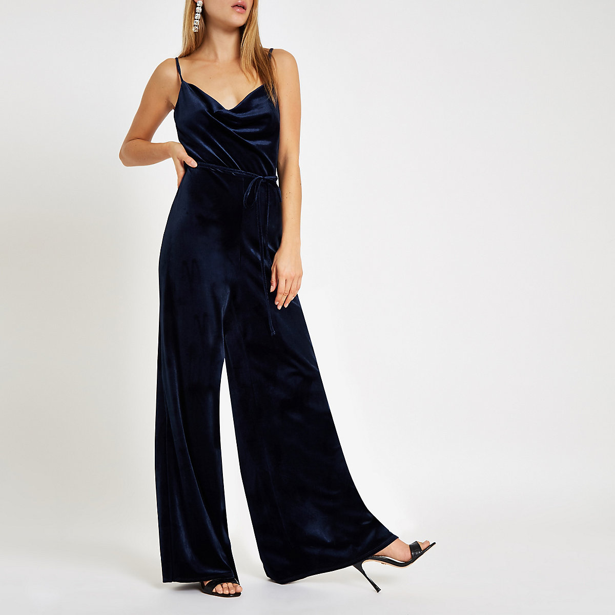 Navy velvet cowl neck wide leg jumpsuit