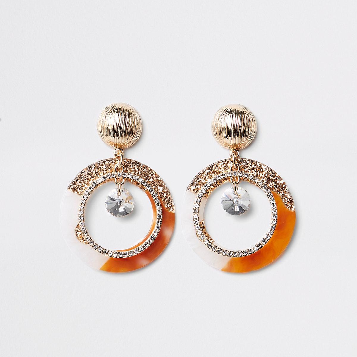 Gold tone glitter hoop drop earrings