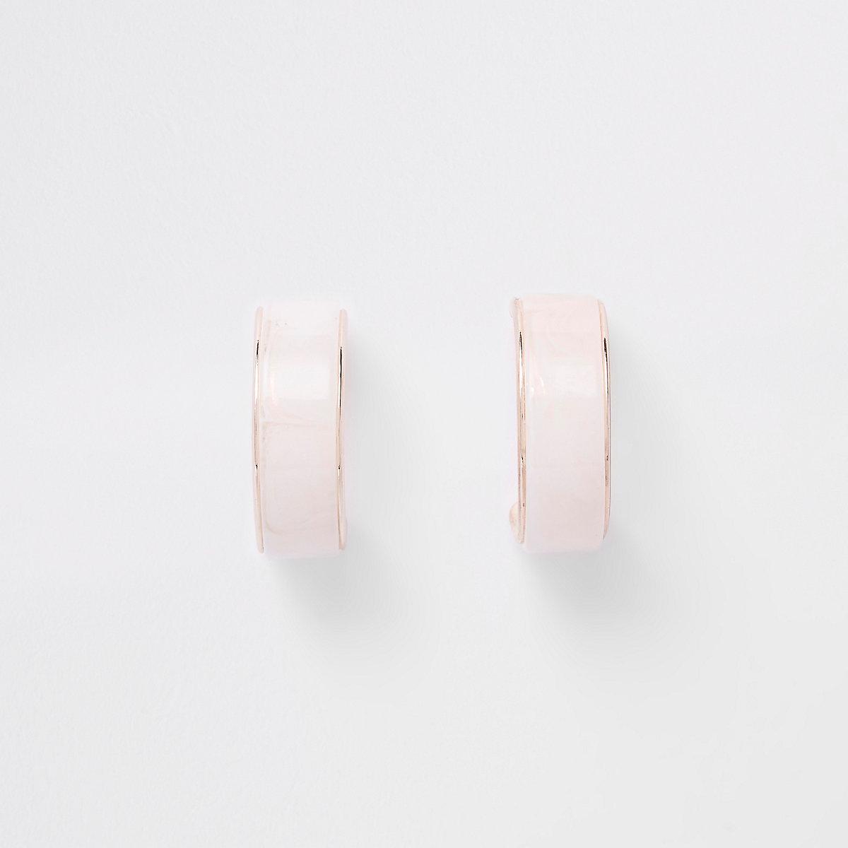Rose gold tone resin print hoop earrings