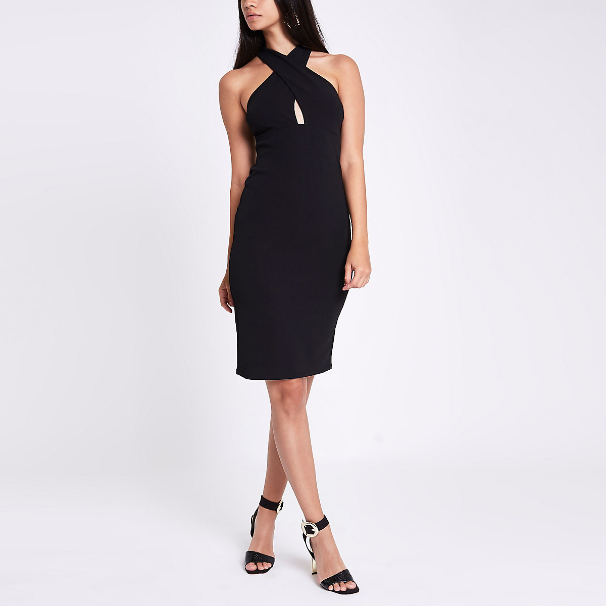 Black jersey cross neck bodycon dress