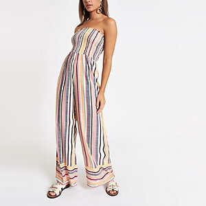 Pink stripe bandeau shirred jumpsuit