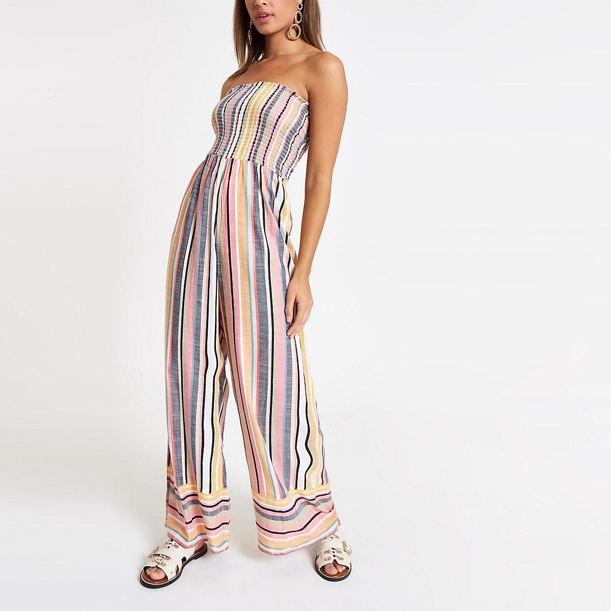 Pink stripe bandeau shirred jumpsuit