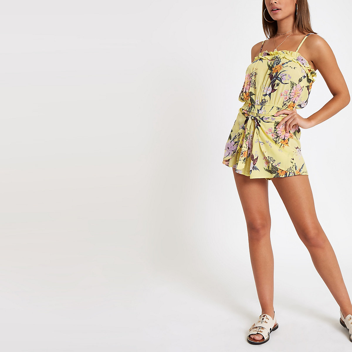 Yellow floral tie beach playsuit