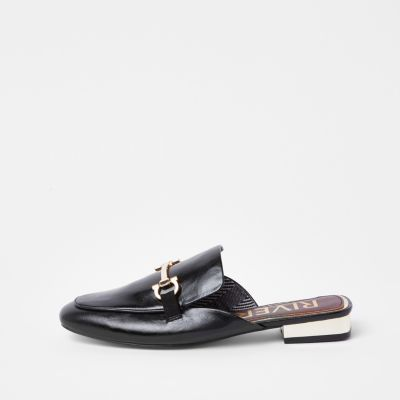 Black Snaffle Backless Loafers by River Island