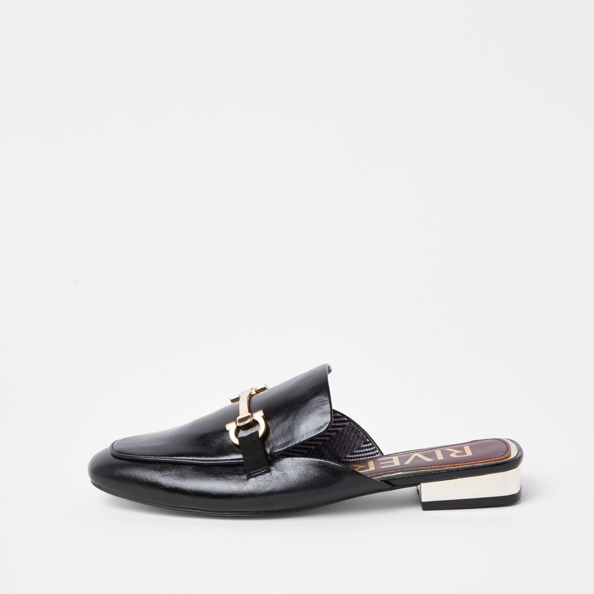 Black snaffle backless loafers