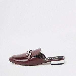 Donkerrode loafers zonder hiel