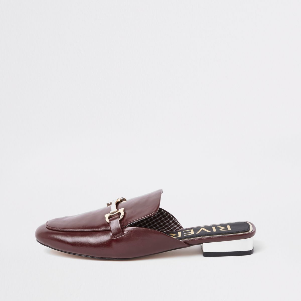 Dark red snaffle backless loafers