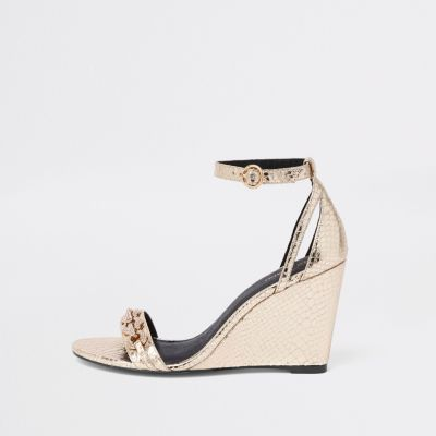 Gold Diamante Trim Snake Embossed Wedges by River Island