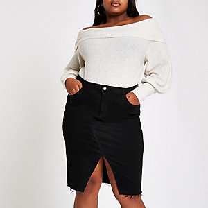 Plus black denim split pencil skirt
