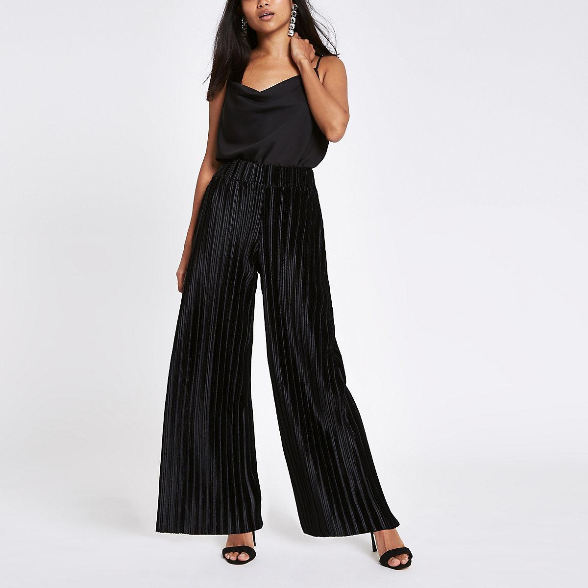 Petite black plisse wide leg trousers