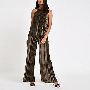Petite khaki plisse wide leg trousers