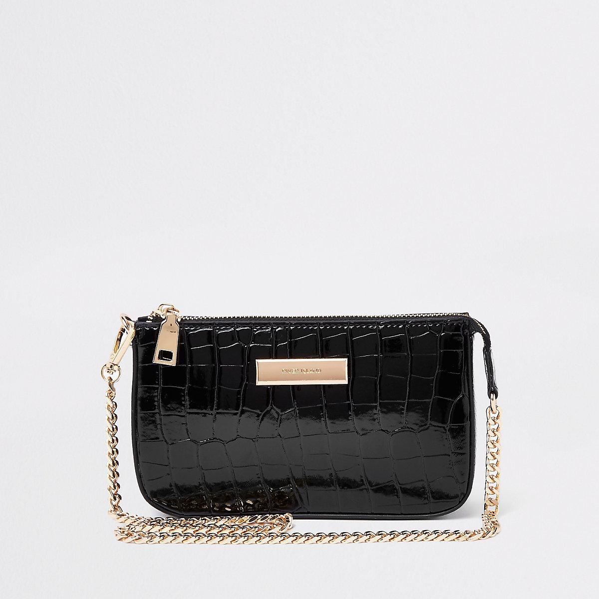 Kleine zwarte schoudertas met ketting en krokodillenleereffect