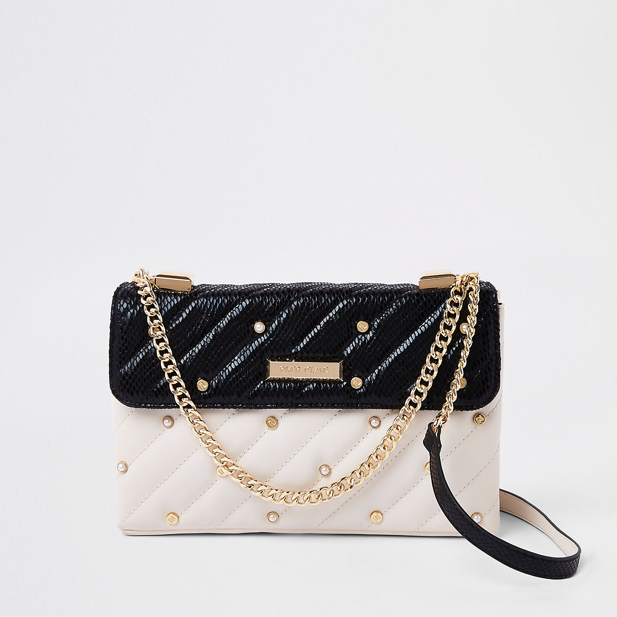 White contrast pearl quilted cross body bag