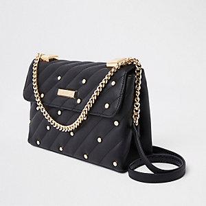Zwarte gewatteerde crossbodytas met pareltjes