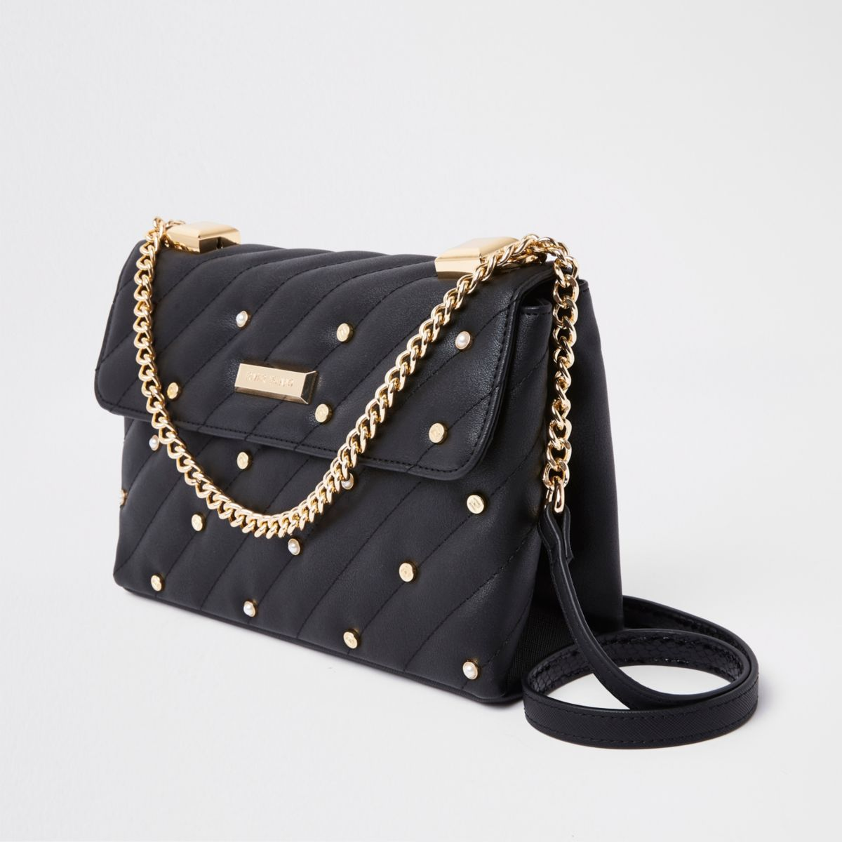 Black pearl quilted cross body bag