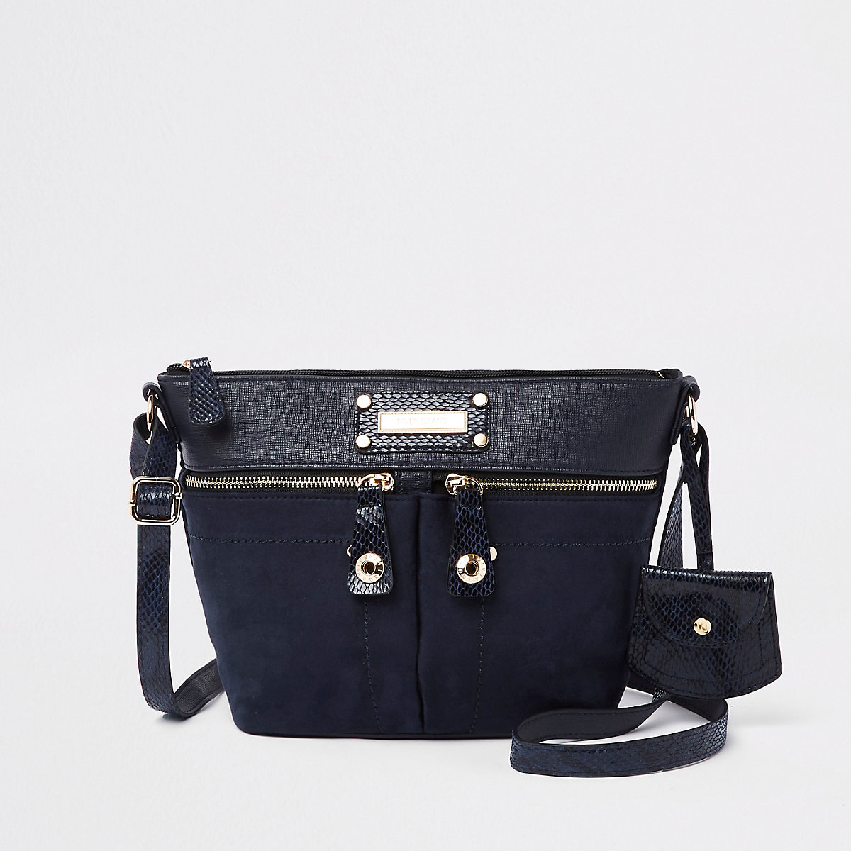 Navy double pocket cross body bag