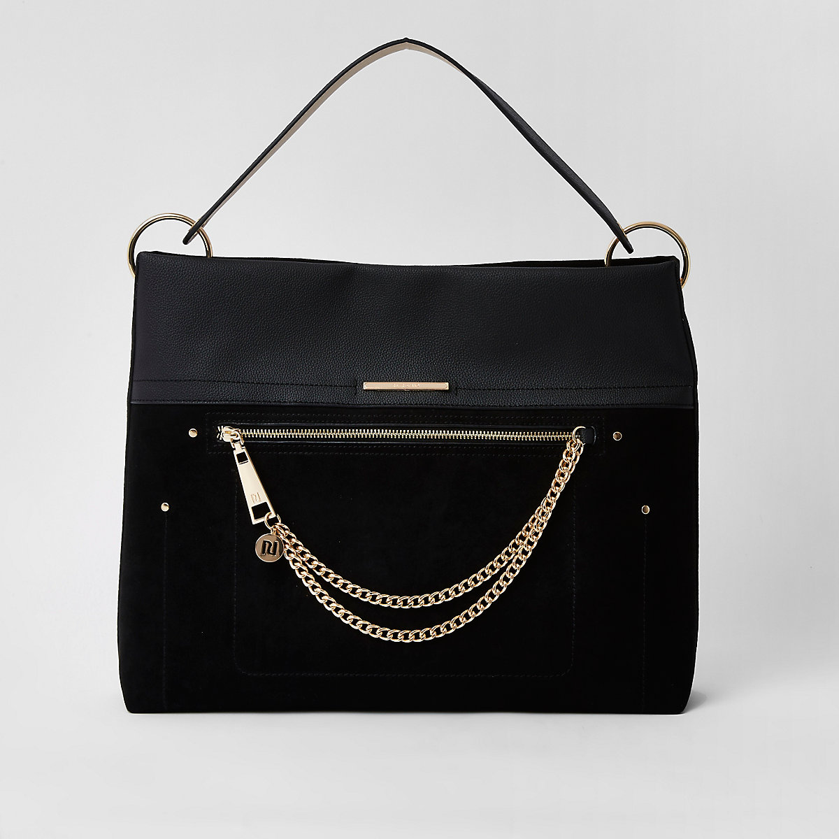 Black zip front chain front slouch bag