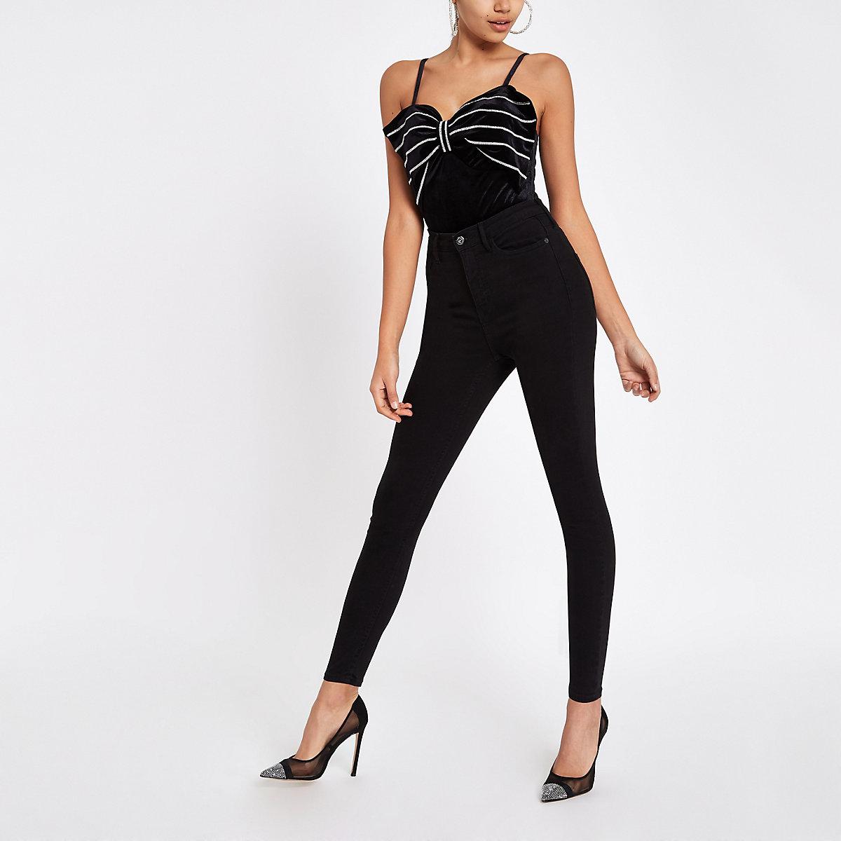 Black diamante bow bodysuit