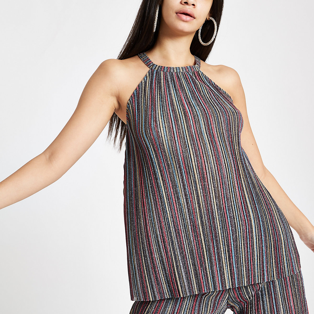 Purple metallic stripe halter neck cami top
