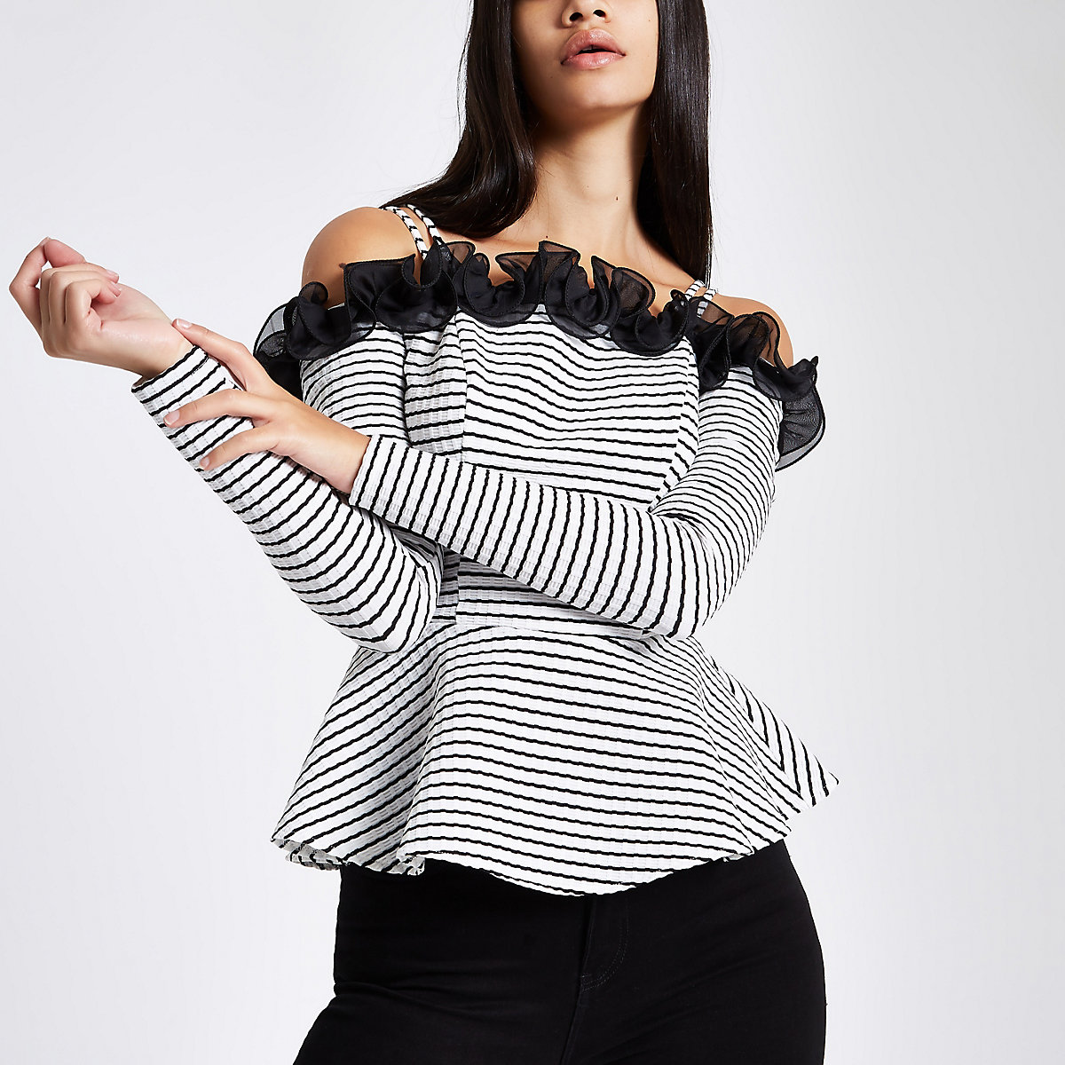 White stripe long sleeve peplum bardot top