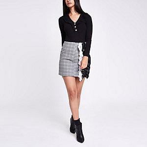 Black frill V neck button-through bodysuit