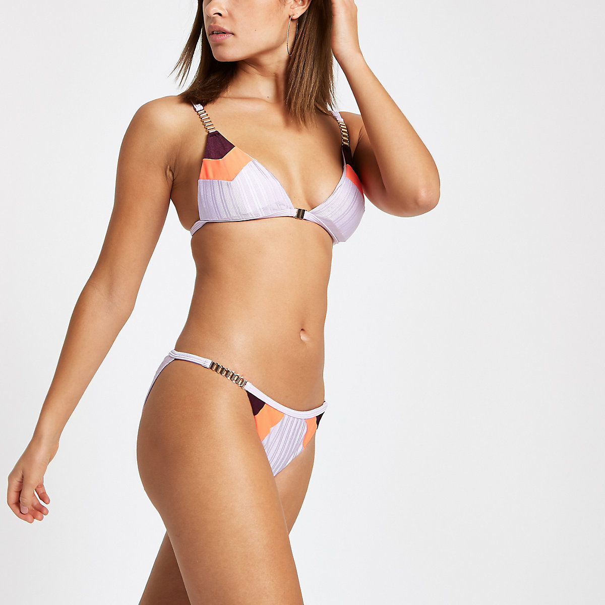 Lilac color block low rise bikini bottoms