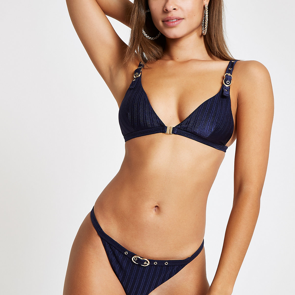 Navy buckle trim triangle bikini top