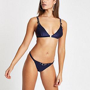 Marineblaue Bikinihose mit hohem Beinausschnitt