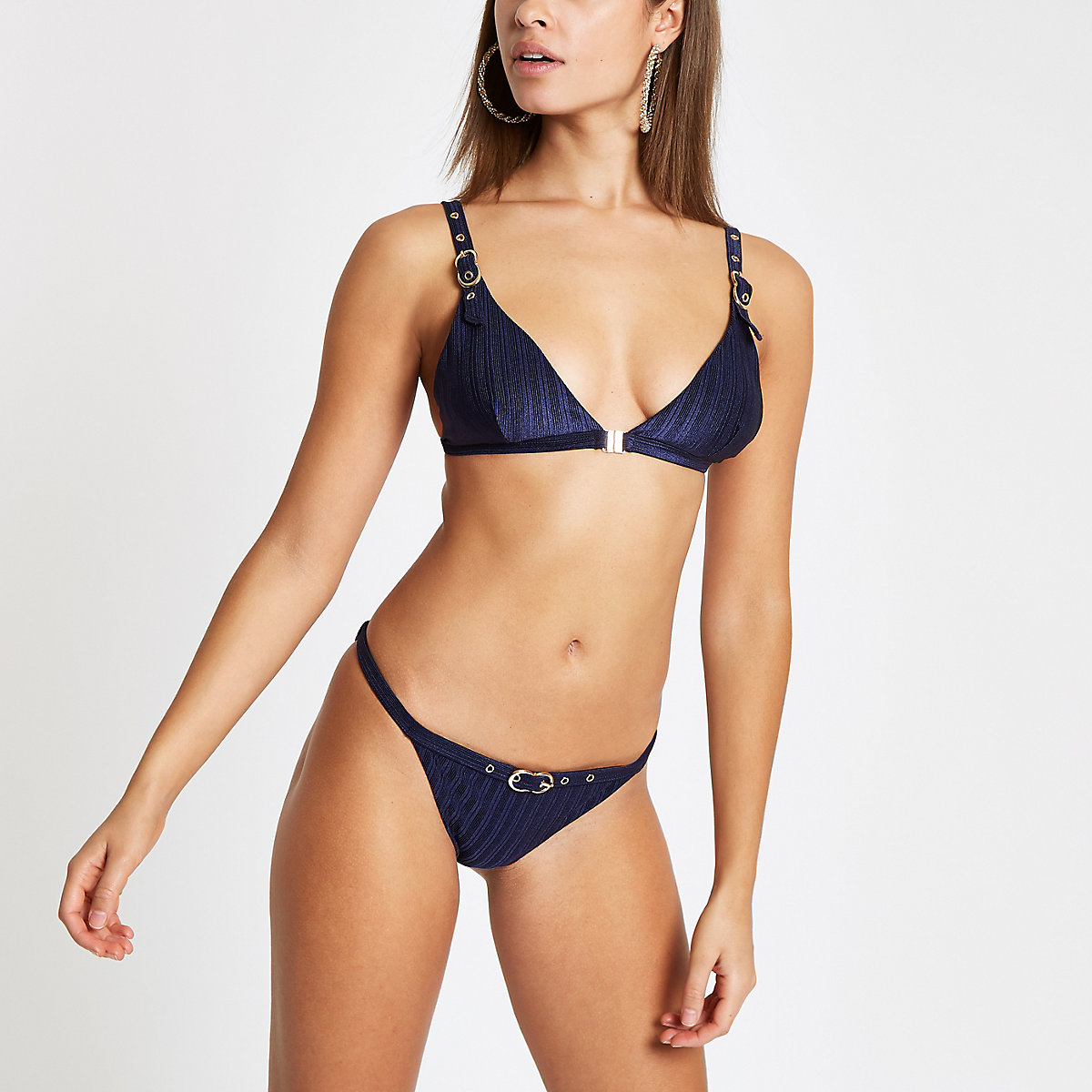 Navy buckle trim high leg bikini bottoms