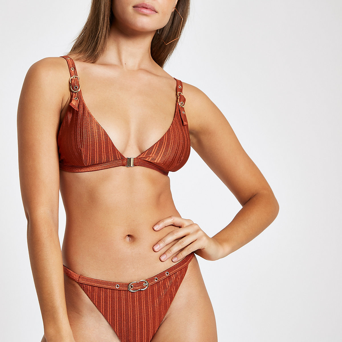 Brown buckle trim triangle bikini top