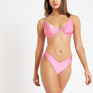 Pink ribbed high leg bikini bottoms