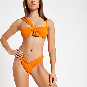 Orange textured low rise bikini bottoms