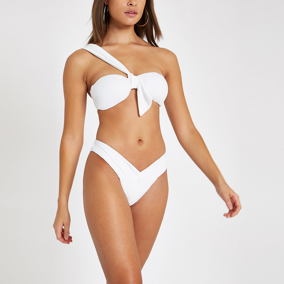 White textured ruched low rise bikini bottoms