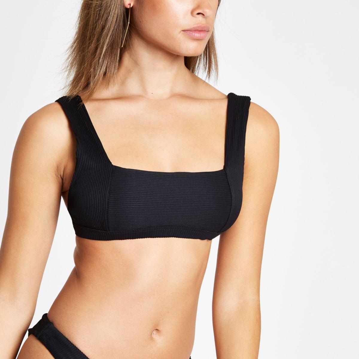 Black rib square neck bikini top