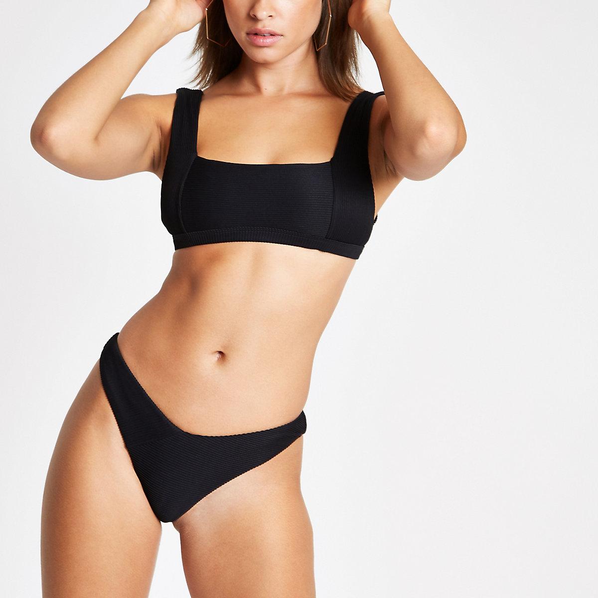 194a2eab45cd Black ribbed high leg bikini bottoms - Bikini Bottoms - Bikinis ...