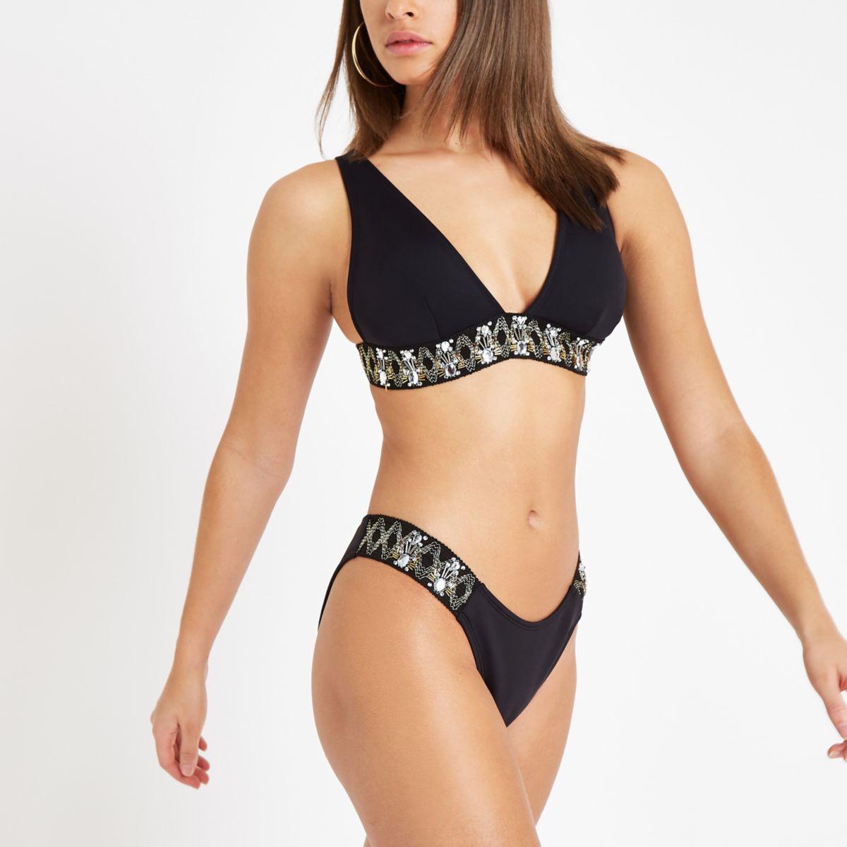 Bas de bikini échancré noir orné
