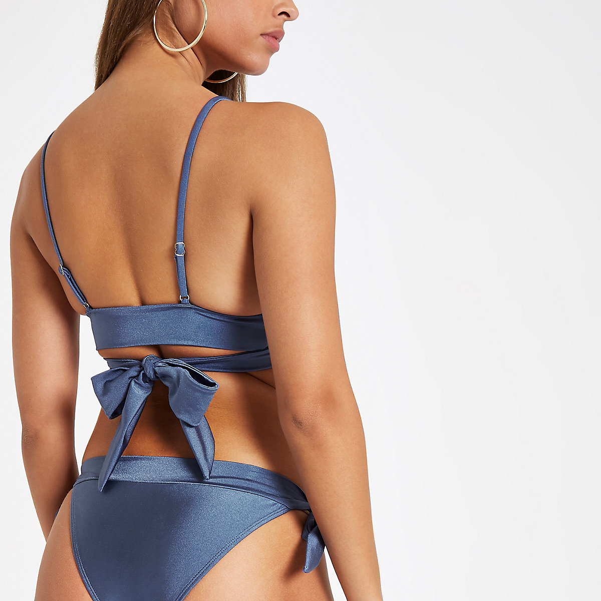 1c2c90537acc8 Blue shirred tie front triangle bikini top - Bikini Tops - Bikinis ...