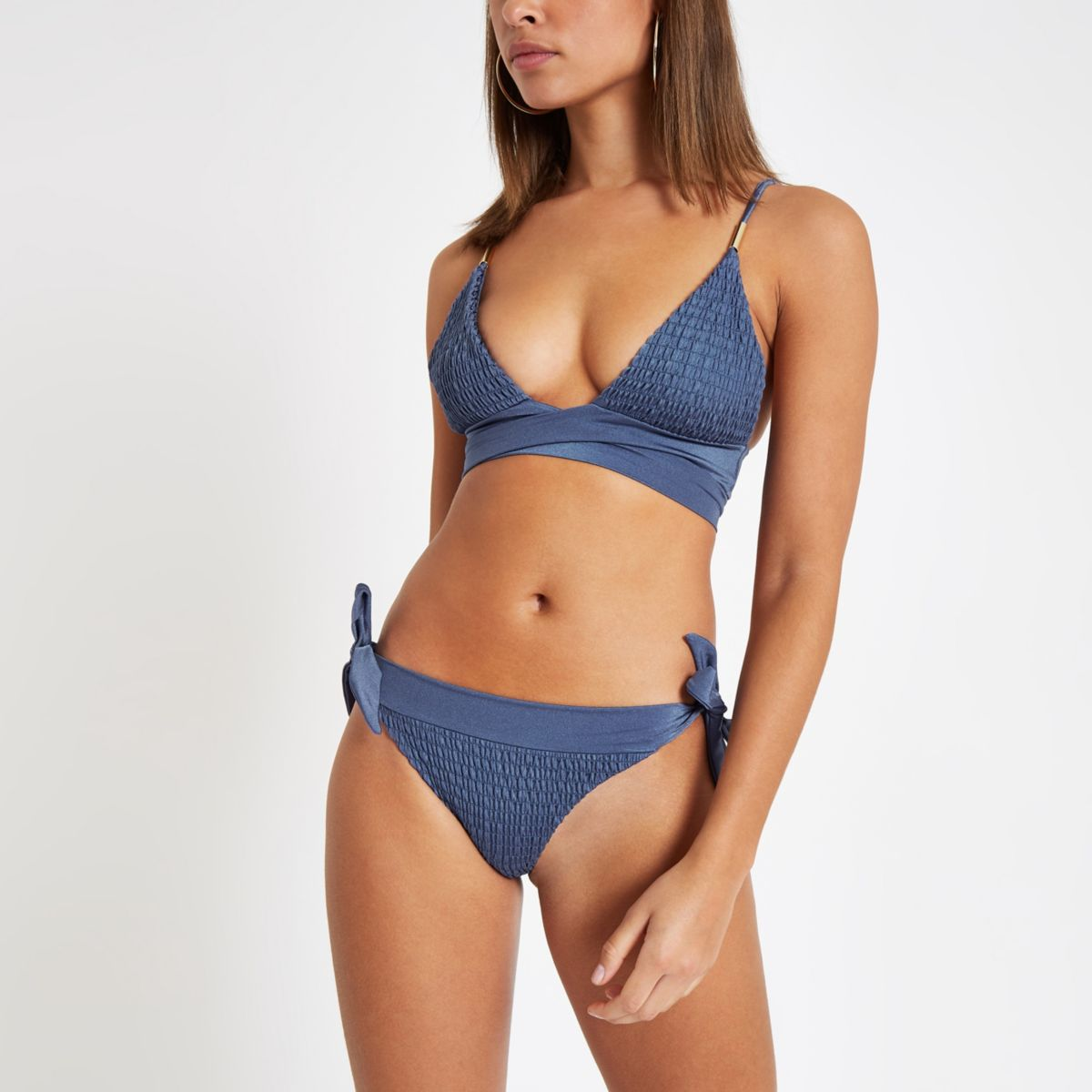 Blue shirred tie front triangle bikini top