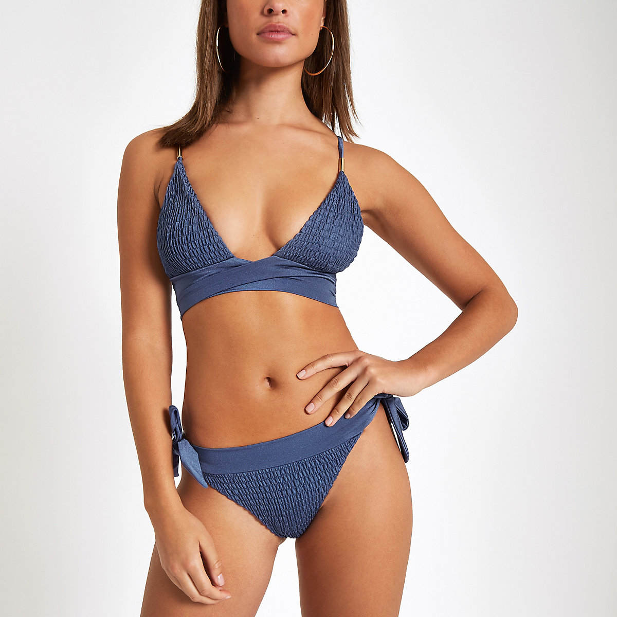 Blue shirred bikini bottoms