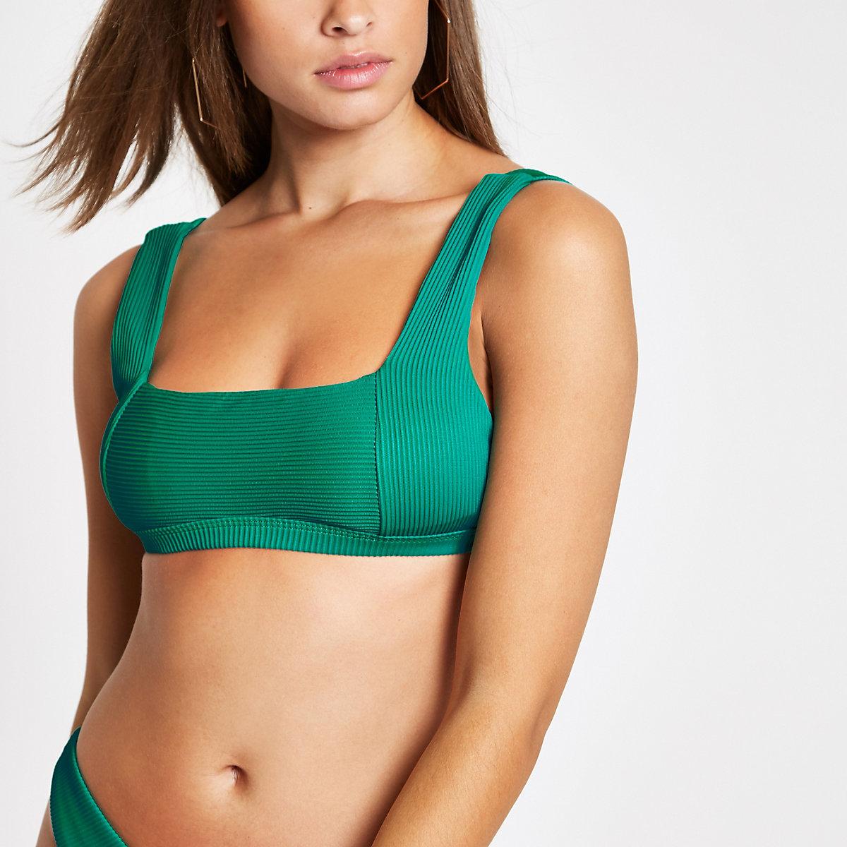 Green rib square neck cami bikini top