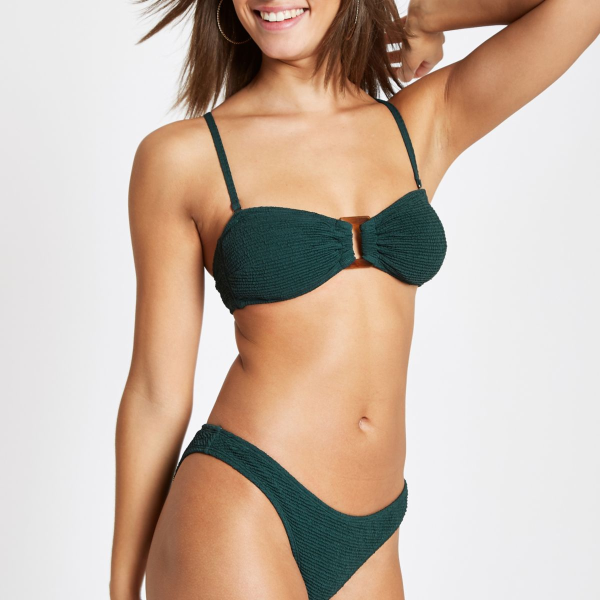 Green shirred ring bandeau bikini top