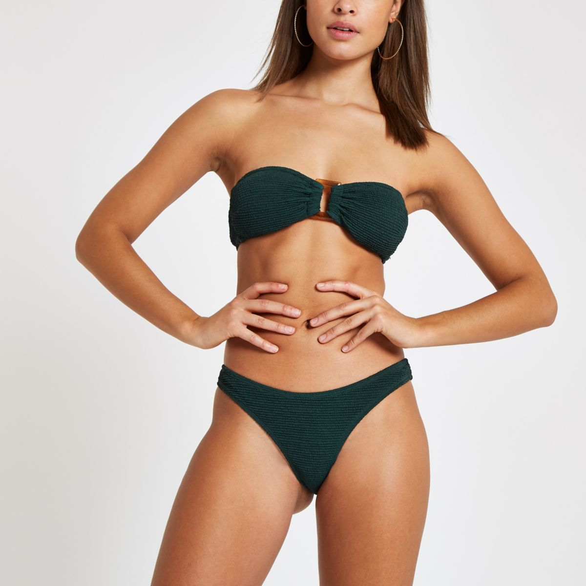 Green shirred high leg bikini bottoms