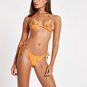 Orange tie side low rise bikini bottoms